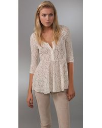 Free People | Natural Ooh La La Lace Top | Lyst