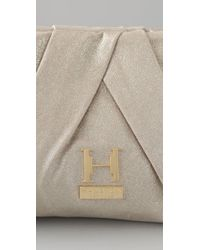 Halston - White Alice Pleated Leather Clutch - Lyst