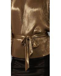 Halston - Metallic Lamé-knit Top - Lyst