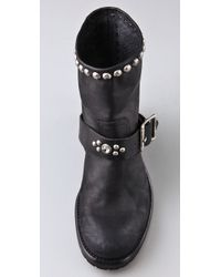 HTC Hollywood Trading Company - Black Motor Booties with Stud & Stone Strap - Lyst
