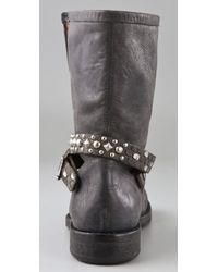 HTC Hollywood Trading Company - Gray Motor Boots with Studded Strap - Lyst