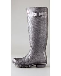 HUNTER - Carnaby Collection Metallic Boa Boots - Lyst