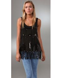 Larok | Black Sequin Fringe Top | Lyst