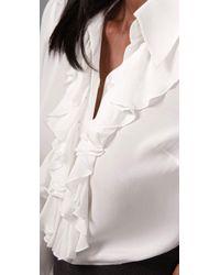 Parker   White Long Sleeve Ruffle Blouse   Lyst