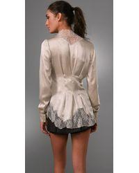 Philosophy di Alberta Ferretti - White Satin Jacket with Lace Collar - Lyst