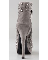 Rock & Republic - Gray Gabriel Studded Suede Booties - Lyst