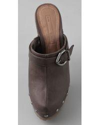 Schutz - Brown Wooden Platform Clogs - Lyst