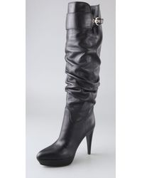 Sergio Rossi | Black Veronica Platform Slouch Boots | Lyst
