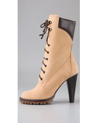 Tapeet - Natural Lace Up Lug Boots - Lyst