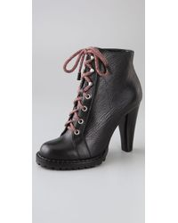 Tapeet | Black Lace Up Lug Booties | Lyst