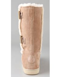 Tory Burch - Natural Shearling Boots with Buckles - Lyst