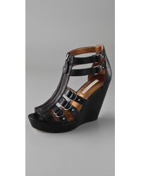 Twelfth Street Cynthia Vincent - Black Jagger Zip Front Wedge Sandals - Lyst