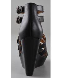 Twelfth Street Cynthia Vincent - Black Jagger Zip Front Wedge Sandals - Lyst