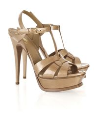 Saint Laurent | Natural Tribute Patent-leather Sandals | Lyst