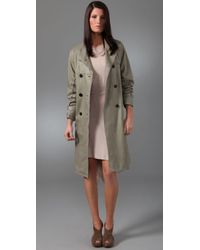 3.1 Phillip Lim | Green Leather Trench Coat with Open Back | Lyst