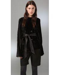 Alexander Wang | Black Velvet Coat with Cape Back | Lyst