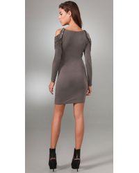 Alice + Olivia - Gray Hollis Embellished Shoulder Dress - Lyst
