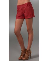 Alice + Olivia | Red Cady Cuff Shorts | Lyst