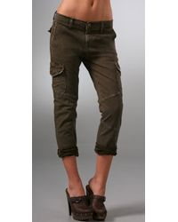 Current/Elliott | Green The Slouch Seamed Cargo Jeans | Lyst