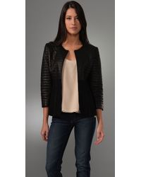 Elie Tahari | Black Tisha Leather Jacket | Lyst