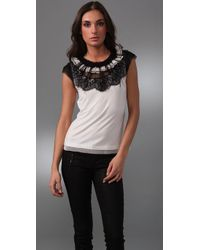 Elie Tahari - White Marlene Knit Top with Removable Collar - Lyst