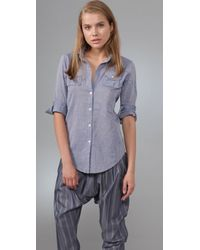Elizabeth and James | Blue Pleated Pocket Chambray Cohen Shirt | Lyst