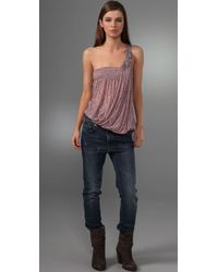 Free People - Pink Sea Breeze One Shoulder Top - Lyst