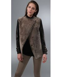 GAR-DE | Brown Leather-sleeve Shearling Jacket | Lyst