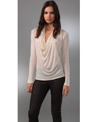 Graham & Spencer | Natural Long Sleeve Cowl Neck Top | Lyst