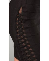 Hervé Léger - Black Lace-detailed Bandage Skirt - Lyst