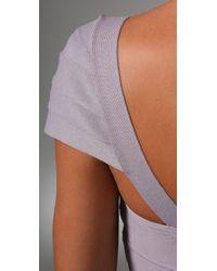 Hervé Léger - Purple Novelty Essentials Cap Sleeve Dress - Lyst