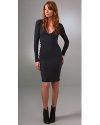 James Perse | Purple Long Sleeve Fitted Dress | Lyst