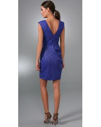Lela Rose - Blue V Neck Seamed Sheath Dress - Lyst