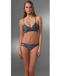 L*Space - Gray Chloe Wrap Bikini Top - Lyst