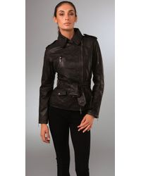Philosophy di Alberta Ferretti | Black Belted Leather Jacket | Lyst