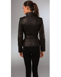 Philosophy di Alberta Ferretti - Black Belted Leather Jacket - Lyst