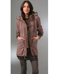 Rebecca Taylor - Natural Parka with Faux Fur - Lyst