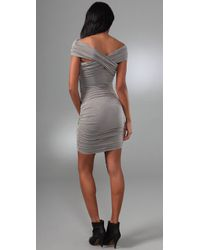 Shakuhachi   Gray Bandage Off Shoulder Dress   Lyst