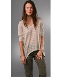 Splendid | Natural Metallic Shadow Stripe Top | Lyst