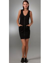 T By Alexander Wang | Black Ponte Zip Dress | Lyst