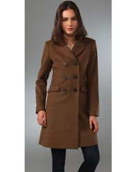 Theory   Brown Double Breasted Coat   Lyst