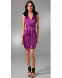 Thread Social | Purple Sheer-back Hammered-silk Dress | Lyst