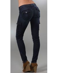 True Religion | Blue Krista Super Skinny Cargo Leggings | Lyst
