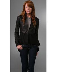 VEDA - Black Leather Sleeve Coat - Lyst