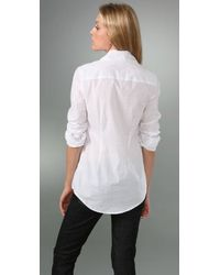 Victorialand - White Medium Body Shirt with Asymmetrical Collar - Lyst