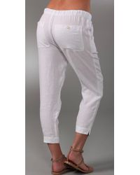 Vince | White Drawstring Cropped Linen Pants | Lyst