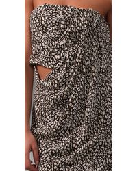 Willow - Gray Print Strapless Sarong Dress - Lyst