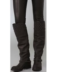 Ash | Black Leather Stud Detailed Remix Tall Boots | Lyst