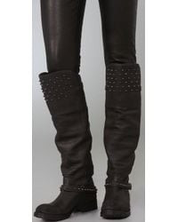 Ash - Black Leather Stud Detailed Remix Tall Boots - Lyst