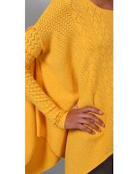 Catherine Malandrino - Yellow Handkerchief-hem Pointelle-knit Top - Lyst